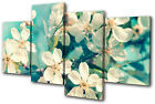 Floral Cherry Blossom Teal MULTI CANVAS WALL ART Picture Print VA
