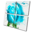 Floral Blue Rose  MULTI CANVAS WALL ART Picture Print VA
