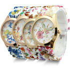 Trendy Women's Flower Printed Silicone Watch Dress Quartz Wrist Watches