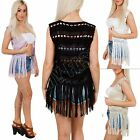 New Womens Ladies Kimono Crochet Knit Knitted Tassel Cardigan Top Size 8 10 12 L