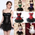 Halter Padded Bra Satin Lace up Basque Tutu Skirt Set Fancy Corset Dress Outfit