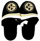 Women's Pittsburgh Steelers Slippers Gold Sparkle Logo NFL Football House Shoes