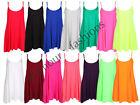 LADIES SLEEVELESS NEON STRAPPY CAMI FLARED SWING DRESS TOP 8-20