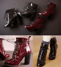 Womens Genuine Patent Leather Lace Up High Heel Ankle Boots Shoes Plus Size Q8-2