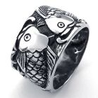 Jewelry Men's 316L Stainless Steel Titanium Double Fish Cast Party Ring M073104