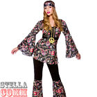 Ladies Black Peace Lovin Hippy Hippie 60's 70's Fancy Dress Costume & Flares