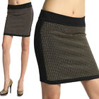MOGAN Embellished PENCIL KNIT SKIRT Glam Gold Studded Front Bodycon Mini Black