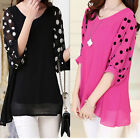 Summer Womens Chiffon Loose Polka Dot Batwing Sleeve v-neck shirt tops Blouse