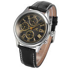 KS Imperial Men's Day Date Display Leather Automatic Mechanical Wrist Watch