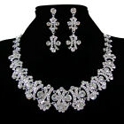 Pretty Lady Crystal Rhinestone Wedding Party Earrings Necklace Jewelry Sets Hot