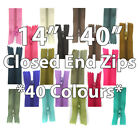 "14"" - 40"" NYLON ZIPS CLOSE ENDED *14 SIZES* SEWING CUSHION SKIRT DRESS ZIPPERS"
