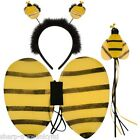 Girls Bee Animal Mini Beast Wings Boppers & Wand Set Fancy Dress Costume Outfit