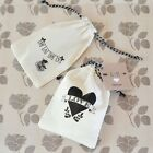 24 PERSONALIZED Vintage Muslin Favor Bags Baby Shower Wedding Favors