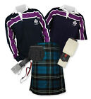 Sports Kit Premium 8yd Kilt Outfit - Purple Stripe Rugby Top - Ramsay Blue