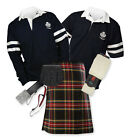 Sports Kit Premium 8yd Kilt Outfit - 2-Stripe Rugby Top - Stewart Black