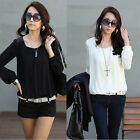 Korean Womens Puff Long Sleeve Shirt Tops Fashion Rivet Chiffon Career Blouse