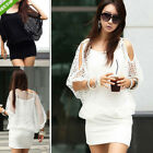 2014 Women Sexy Hollow Out Batwing Sleeve Bodycon Mini Dress Pullover TOP Blouse