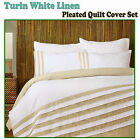 TURIN Cotton Rich Pleats White Linen Quilt Cover Set - QUEEN KING