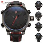 SHARK Digital LED Analog Date Day Alarm Leather Mens Sport Quartz Wrist Watch