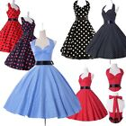 ❤US FAST❤Vintage 50s Cotton Halter Rockabilly Cocktail Evening Prom Party Dress