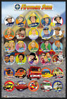 "FIREMAN SAM - FRAMED TV POSTER / PRINT (CHARACTER COLLAGE) (SIZE 24"" x 36"")"