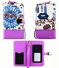 Universal Wallet Pouch For Samsung Cover Blue Flower Flip Slide Up Wristlet Case