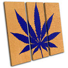 Cannabis Leaf Abstract TREBLE CANVAS WALL ART Picture Print VA