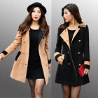 Winter England Style Women's Warm Fur Collar Slim Double-breasted Wool Coat Top
