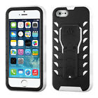 Apple iPhone 5 5S SE Treadz HYBRID KICKSTAND Rubber Case Cover +Screen Protector