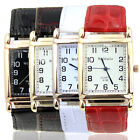 New Fashion Chic Men Women Leather Band Square Dial Quartz Watches Wrist Watch