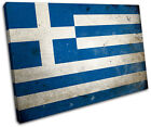 Abstract Greek Greece Maps Flags SINGLE CANVAS WALL ART Picture Print VA