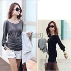 Women Casual Crew Neck Batwing Dolman Long Sleeve T-shirt Tops Loose Blouse BF00