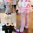 Girls Kid Lace Hem Bow Tights Leggings Pencil Pants Slim Trousers Ages 2-7 Years