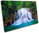 Waterfall River Landscapes SINGLE CANVAS WALL ART Picture Print VA