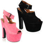 New Ladies Faux Suede Womens Platform Peep Toe Chunky High Heel Shoes Size 3-8