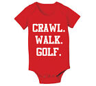 Craw Walk Golf funny new baby infant golfer bag set gift Red Baby One Piece