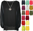 New Plus Womens Chiffon Sheer Lined Necklace Ladies Batwing Sleeve Top 14-18