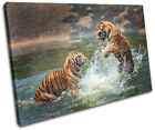 Tigers Playing Animals SINGLE CANVAS WALL ART Picture Print VA