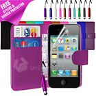FLIP PU WALLET LEATHER CASE FOR IPHONE 4 4S + SCREEN PROTECTOR + STYLUS PEN