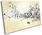 Musical  Floral Abstract SINGLE CANVAS WALL ART Picture Print VA