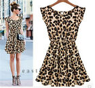 Sexy Leopard Fashion Women Casual Evening Cocktail Girls Party Mini Summer Dress