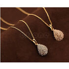 Womens Golden/Silver Plated Crystal Teardrop Waterdrop Necklace Shiny Pendant