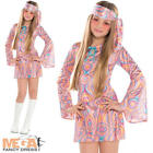 Disco Diva Teen Girls 1970s Fancy Dress 70s Childrens Costume Hippy Kids Outfit