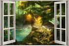 Huge 3D Window Fantasy Forest View Wall Stickers Film Decal Wallpaper Mural