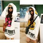 Women Long Tops Coat Blouse Hooded Hoodie Sweat Musical Note Jacket Sweet N4U8