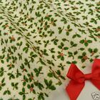 IVORY 3 leaf HOLLY Christmas Fabric 100 % cotton  per 1/2 mtr or per FQ