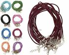 10Pcs/2mm Real Leather Chains Necklace Charms Findings String Cord With Metal