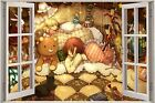 Huge 3D Window view Childrens Fairytale Toys Wall Sticker Decal Wallpaper Mural
