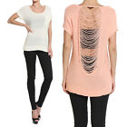 Themogan Netted Open Back Knit Sweater Short Sleeve Pullover Jumper Top