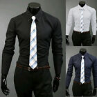 Mens Luxury Casual Slim Fit Stylish Dress Shirts Long Sleeve Formal Shirt Tops
